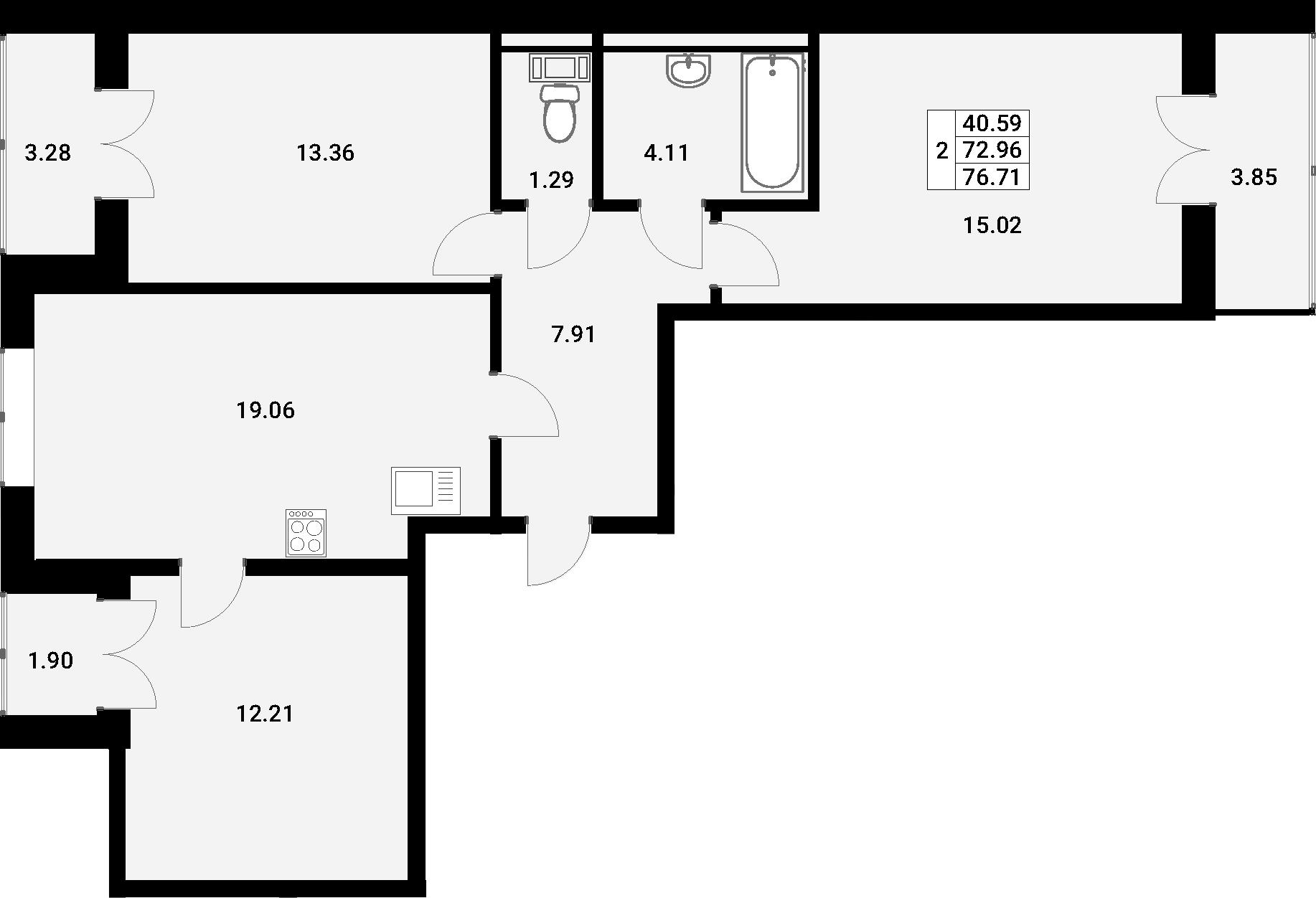 4Е-к.кв, 76.71 м²