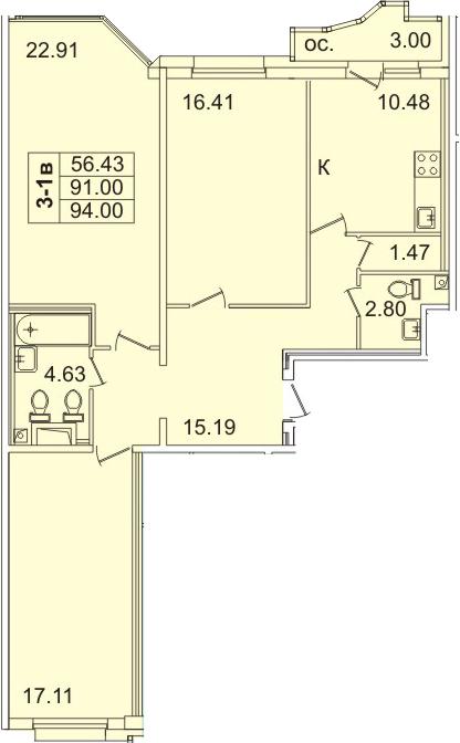 3-к.кв, 92.5 м²