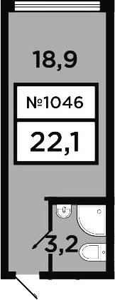 Студия, 22.1 м²– 2