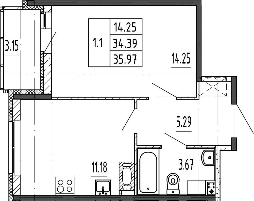 1-к.кв, 34.39 м²