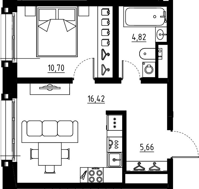 2Е-к.кв, 37.6 м², от 5 этажа