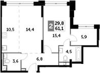 3Е-к.кв, 61.1 м², 25 этаж