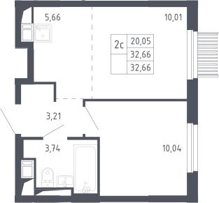 2Е-комнатная, 32.66 м²– 2
