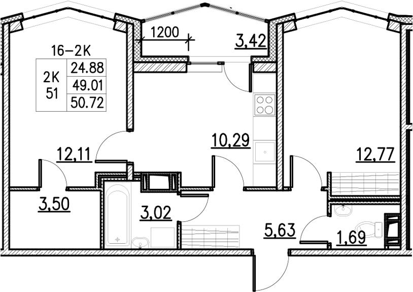 2-к.кв, 50.72 м²