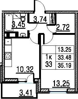 1-к.кв, 35.19 м², 11 этаж