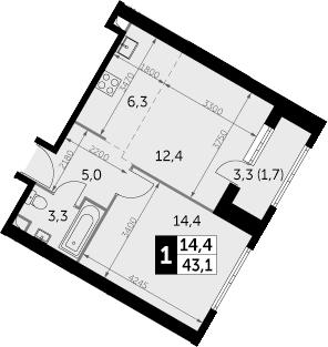 1-к.кв, 44.8 м²