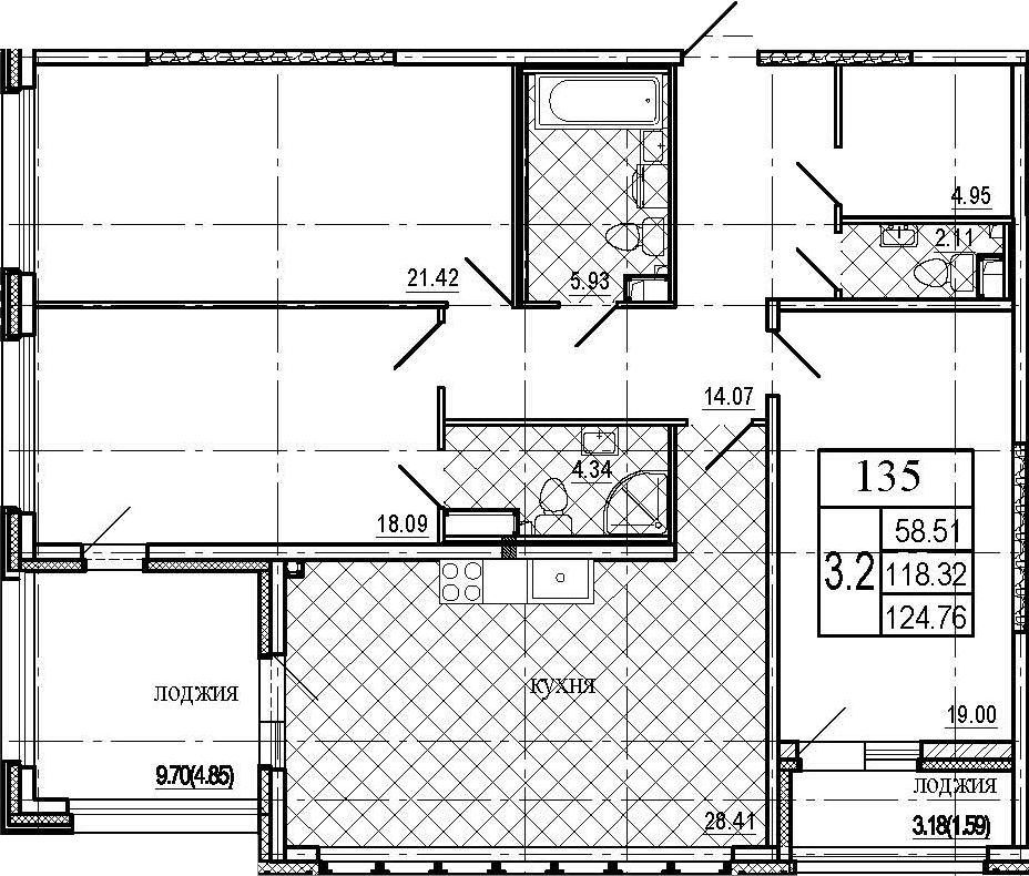 4Е-к.кв, 124.76 м², 2 этаж