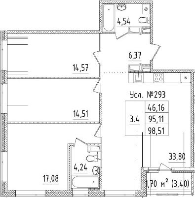 4Е-к.кв, 95.11 м², от 3 этажа