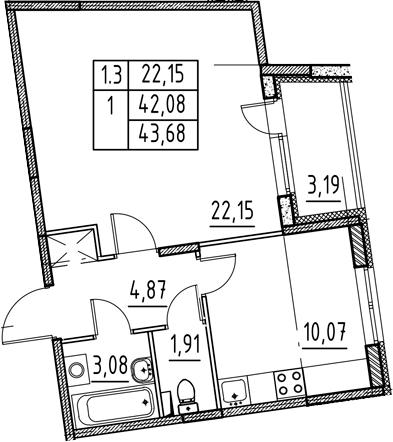 1-комнатная, 42.08 м²– 2