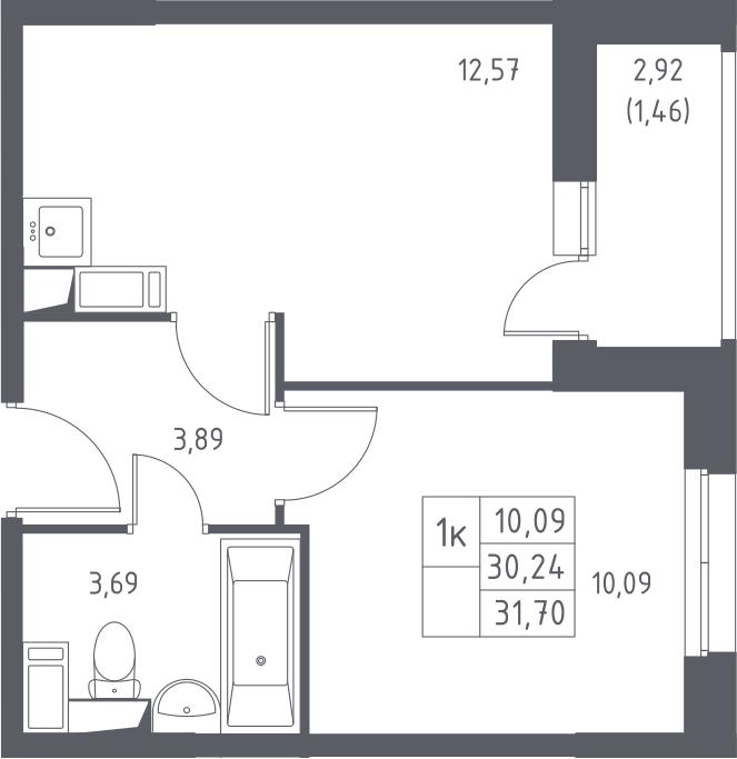 1-к.кв, 33.16 м²