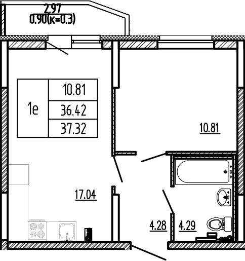 2-к.кв (евро), 39.42 м²