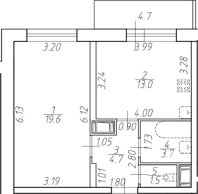 1-к.кв, 47.2 м²