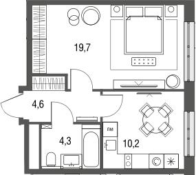 1-к.кв, 38.8 м², от 3 этажа