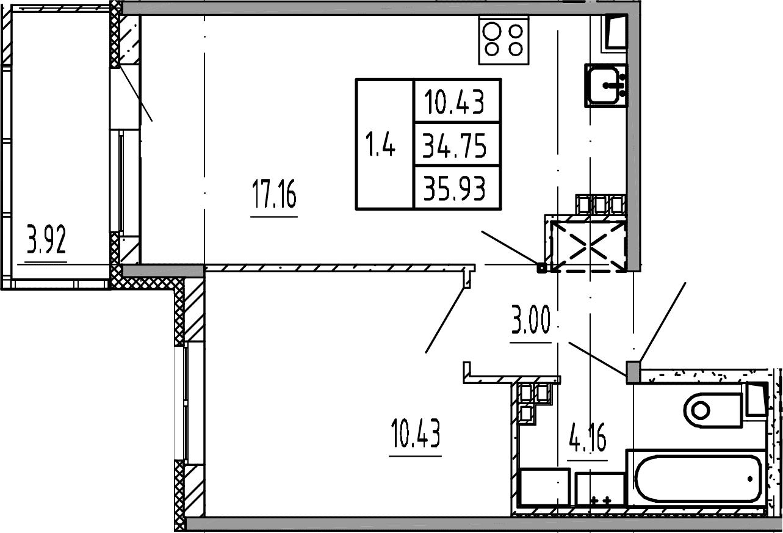 2Е-к.кв, 34.75 м², 4 этаж