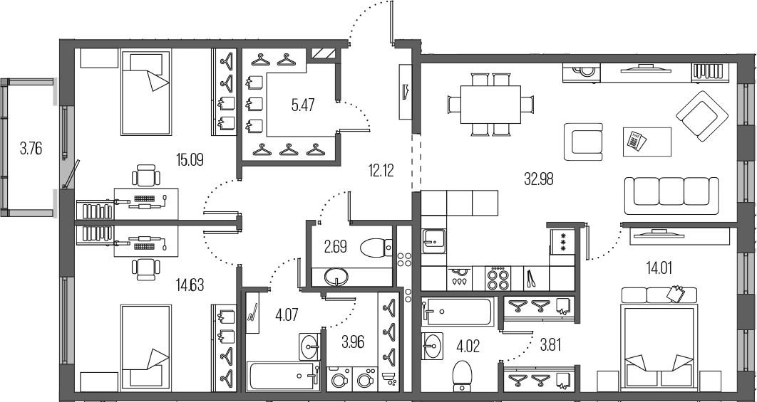 4-к.кв (евро), 116.61 м²