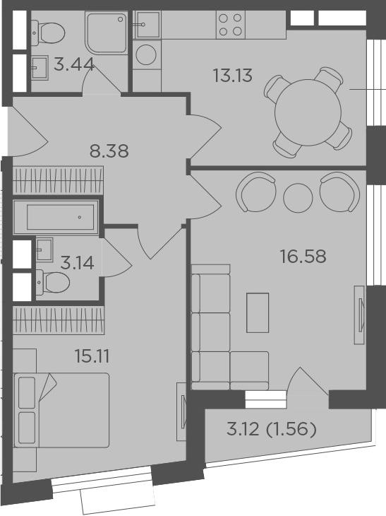 2-комнатная, 61.34 м²– 2