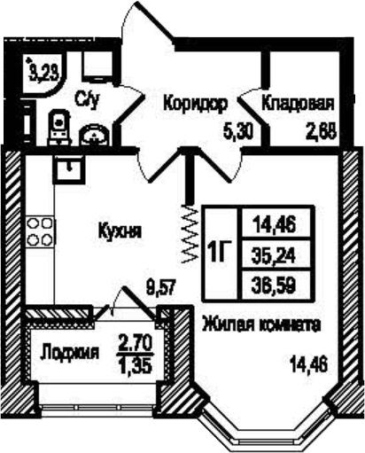 1-комнатная, 36.59 м²– 2