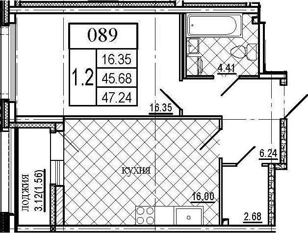 2-к.кв (евро), 48.8 м²