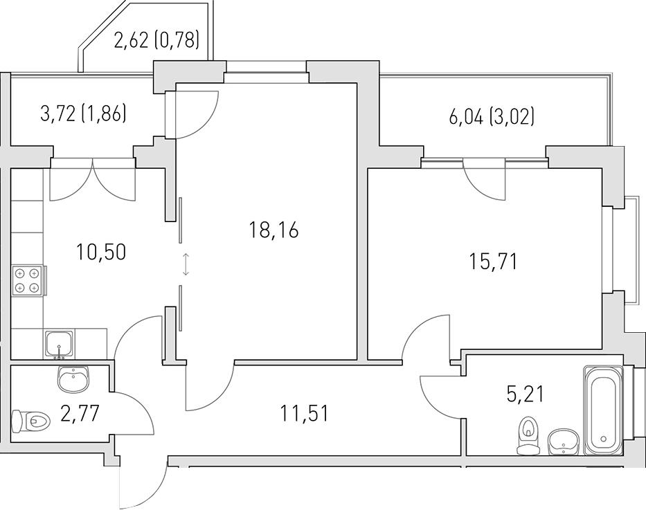 2-к.кв, 69.52 м²