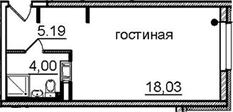 Студия, 27.22 м²