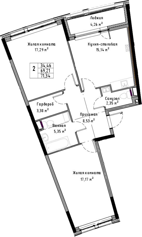3-к.кв (евро), 73.47 м²
