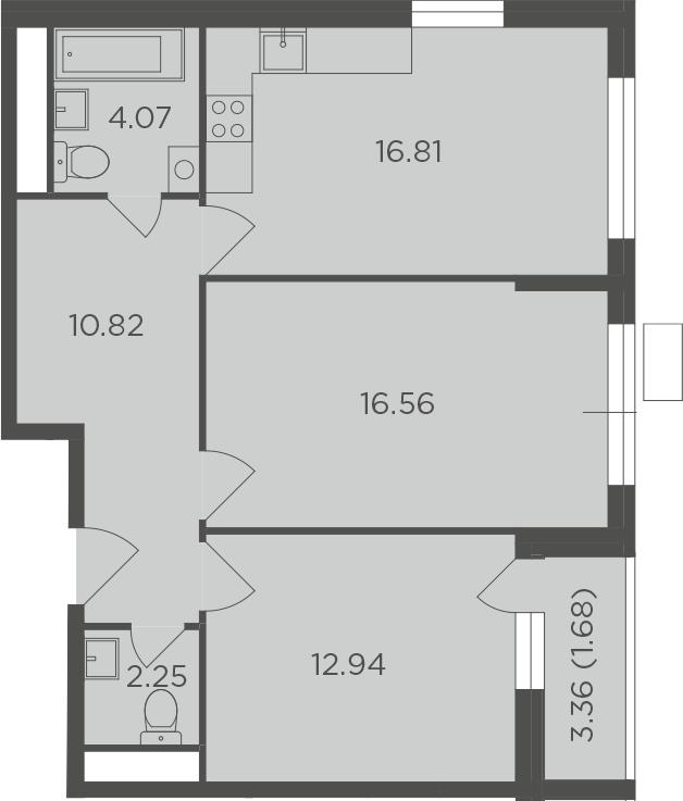 2-к.кв, 65.13 м²