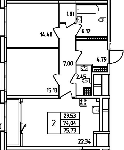3Е-комнатная, 75.73 м²– 2