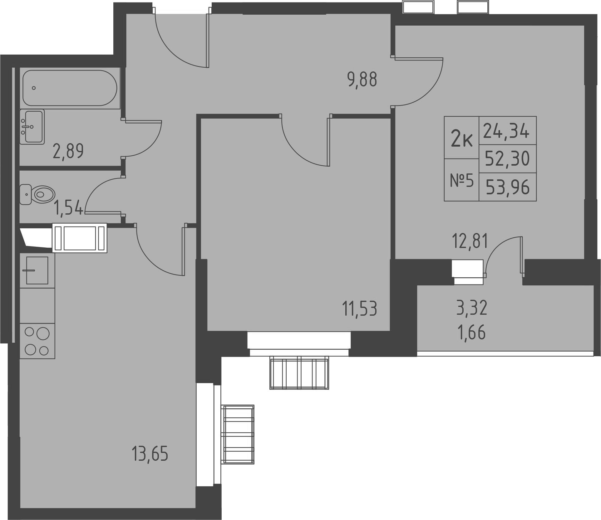 2-комнатная, 53.96 м²– 2