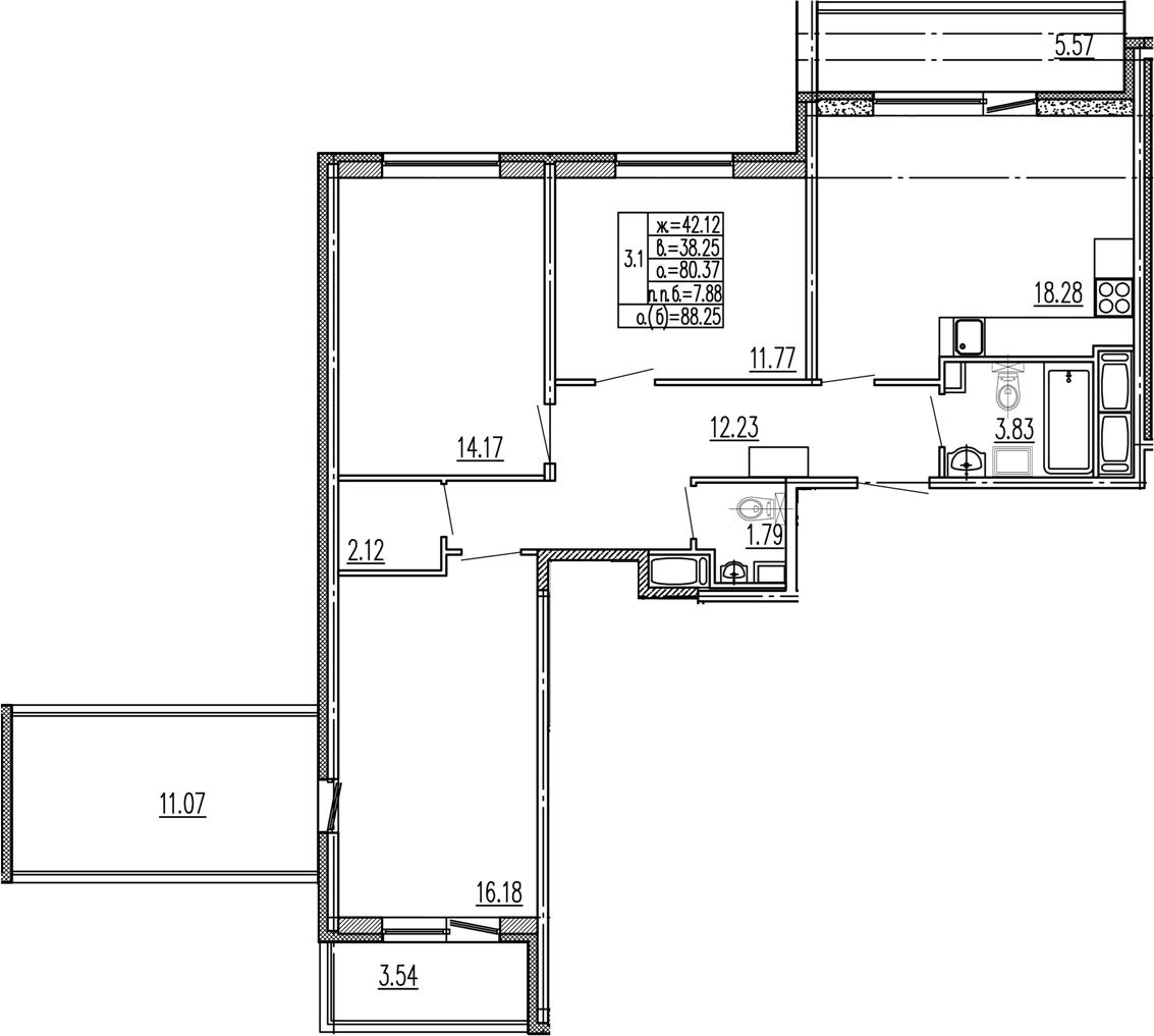 4Е-комнатная, 80.37 м²– 2