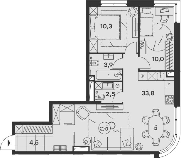 3Е-к.кв, 65 м², 15 этаж