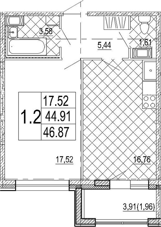 1-к.кв, 48.83 м²