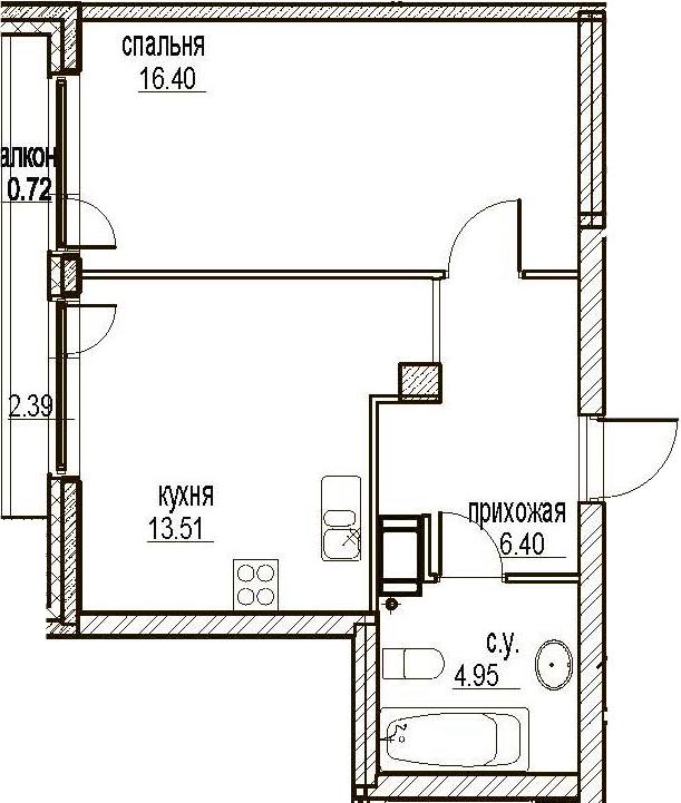 1-комнатная, 41.98 м²– 2