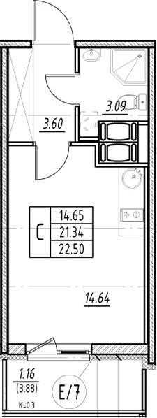Студия, 21.34 м²– 2