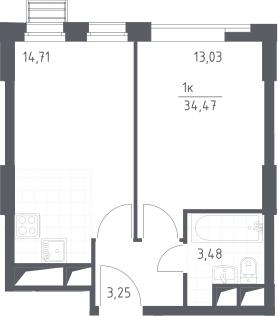 2Е-к.кв, 34.47 м², 11 этаж