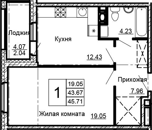 1-к.кв, 47.75 м²
