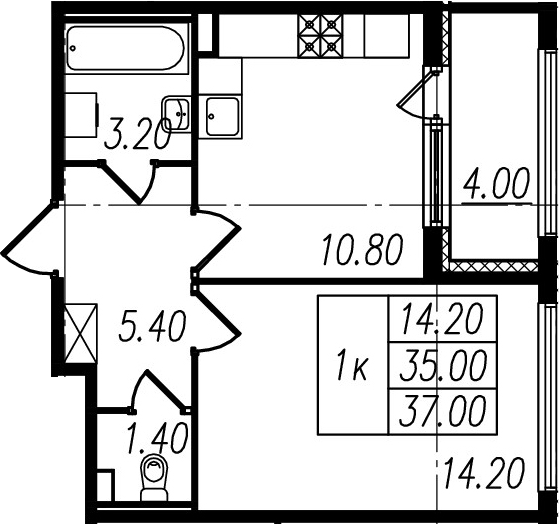1-к.кв, 35 м², 2 этаж