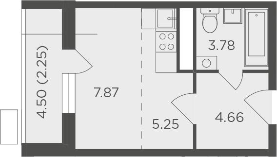 Студия, 23.81 м²– 2