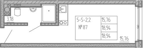 Студия, 18.94 м², от 13 этажа