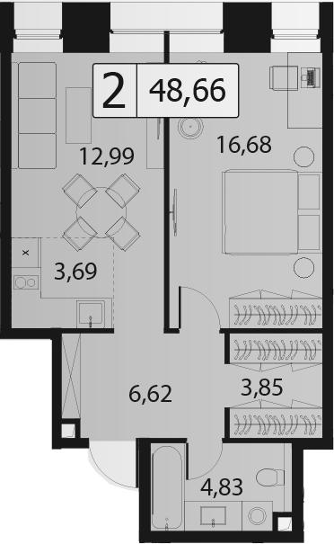 2-к.кв (евро), 48.66 м²