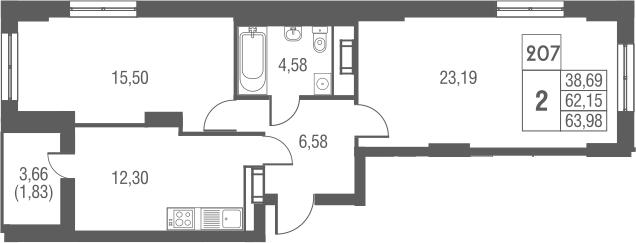 2-комнатная, 63.98 м²– 2