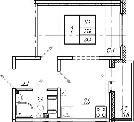1-к.кв, 26.4 м², 21 этаж