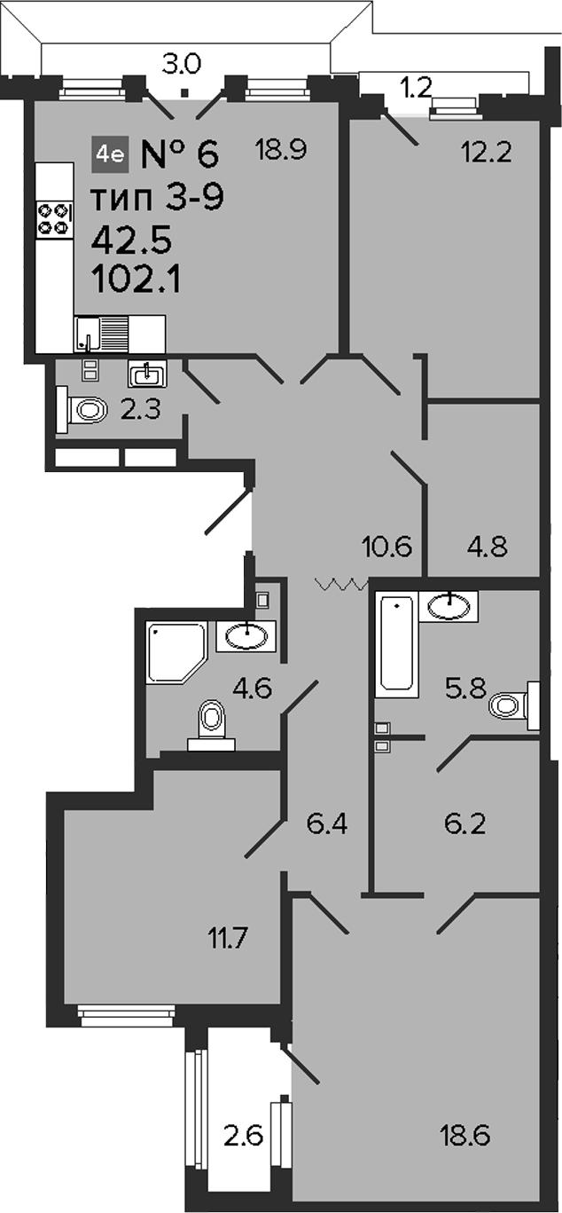 4Е-к.кв, 102.1 м²
