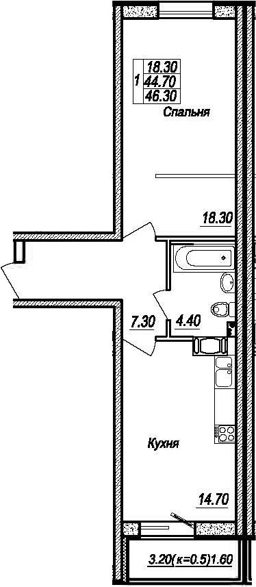 1-к.кв, 47.9 м²