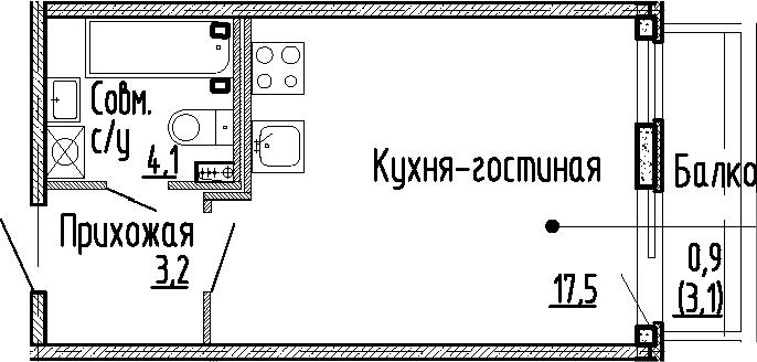 Студия, 24.8 м², 1 этаж