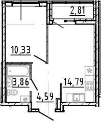 2Е-комнатная, 33.57 м²– 2