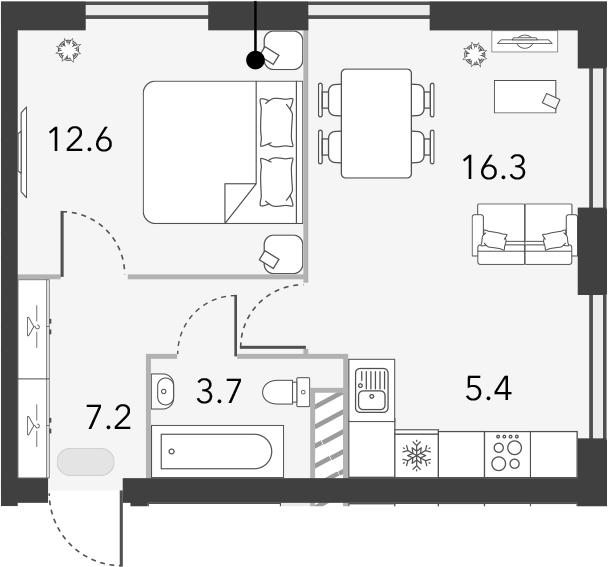 2Е-комнатная, 45.2 м²– 2