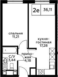 2Е-к.кв, 36.11 м², 24 этаж