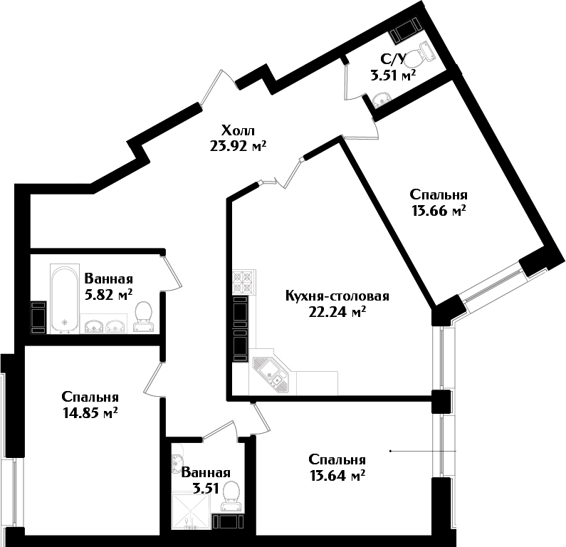 4-комнатная квартира (евро), 100.34 м², 2 этаж – Планировка