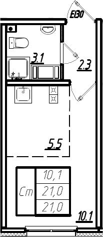 Студия, 21 м²– 2