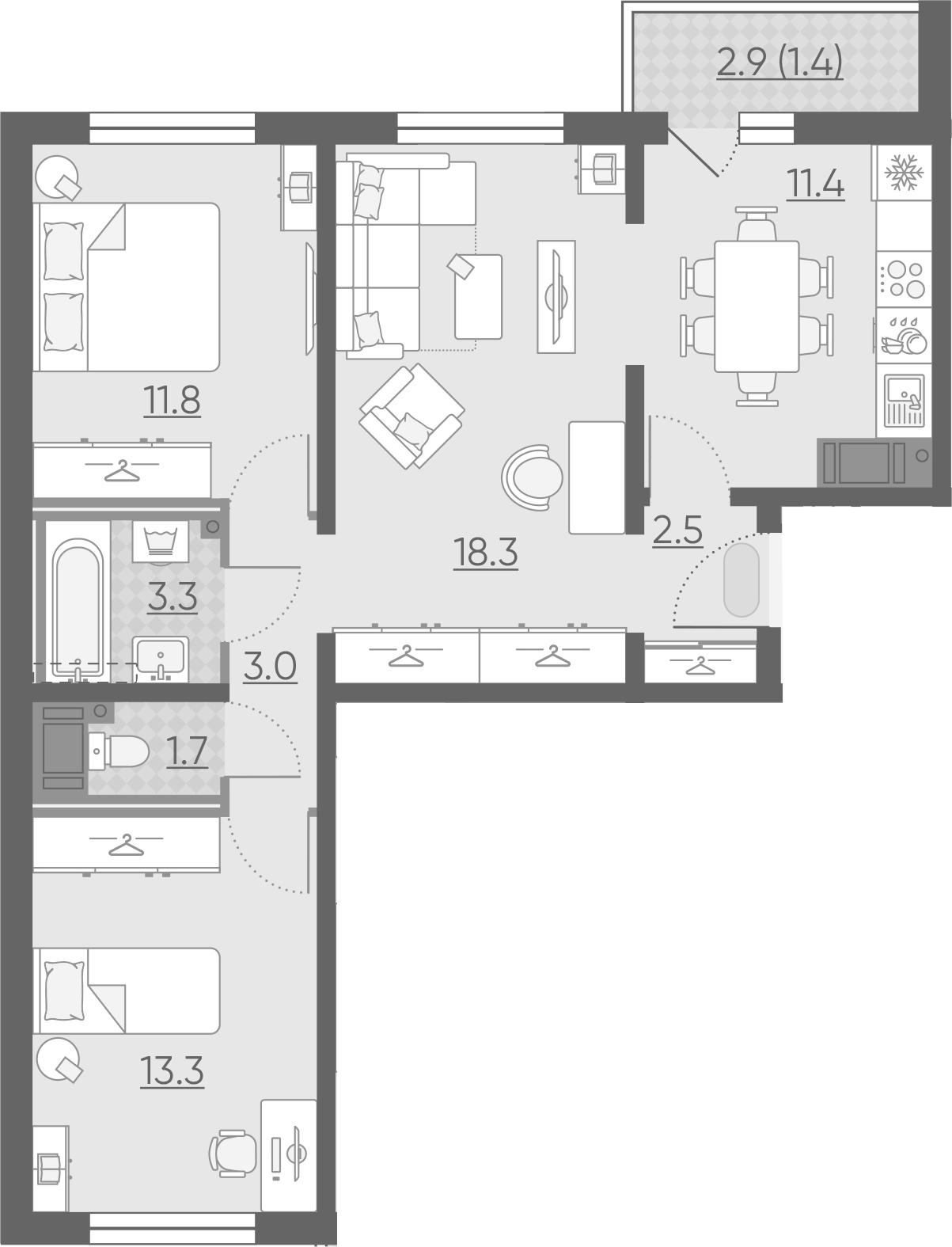 3-к.кв, 66.7 м²